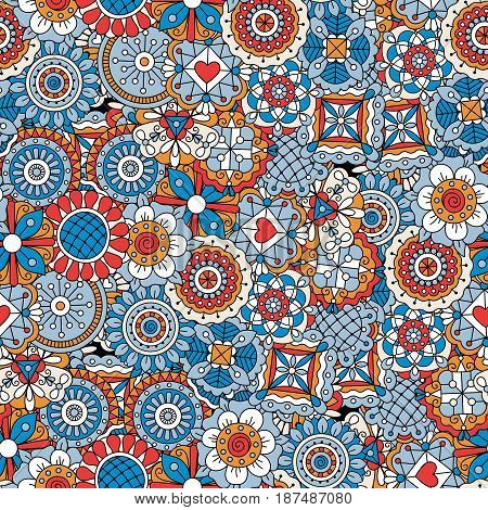 Mandala style flowers blue and red decorative pattern. Vector illustration
