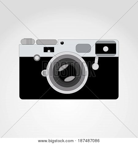 Retro camera or vintage camera in a flat style on a colored background. Old camera with strap. Isolated antique camera.