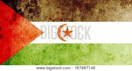 Western Sahara flag grunge background. Background for design in country flag