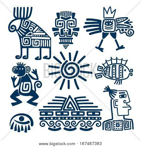 Maya or inca style blue linear totem icons. Aztec ancient symbols isolated on white background.