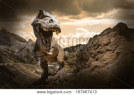 Giant Dinosaur on dry rocky mountain background