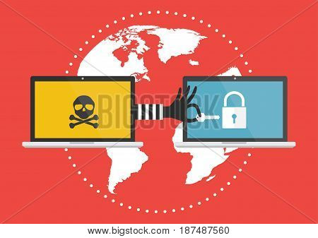 Computer laptop with hacker hand with a key for unlock victim laptop computer. Vector illustration cybercrime concept.