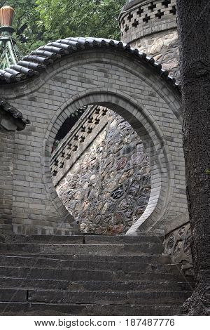 china ancient round door stairs ancient rocks