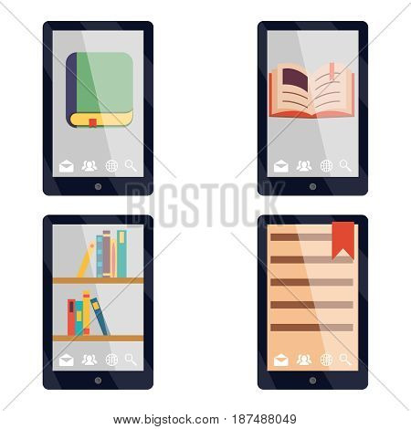 E-book reader e-reader Flat icons symbols Set Vector Illustration