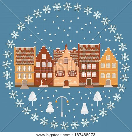 Vector Illustration Houses In The Snow.