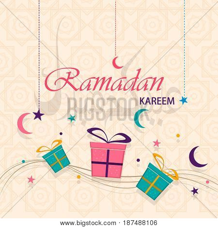 Ramadan Kareem greeting card. Lettering on background translates as Eid Mubarak. Usable for greeting postcard background. Arabic letters. EPS10