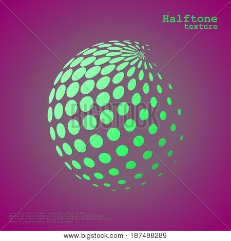 Abstract halftone sphere in green color isolated over the center of complement color background and with example of text, created for business advertising, presentation, logo, web