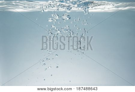 Fresh Fizzy Water In The Glass With Bubbles Background, Close Up View, Health, Diet Nutrition