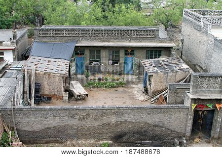 chinese house yard rustic ancient dog architecture