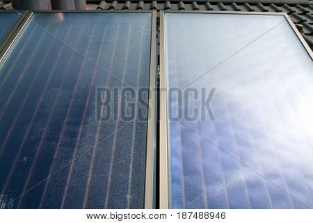Solar panels on roof - regenerative energy system electricity generation