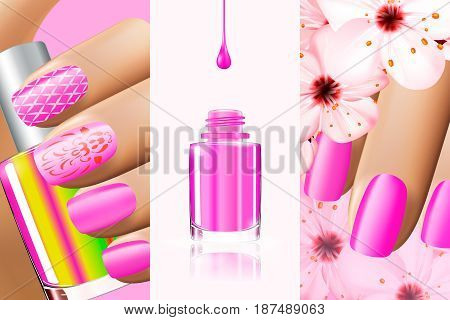 Colorful pink collection of nail designs for summer and spring. Vector 3d illustration. Nailpolish lacquer ads, nail polish splatter on white background. Manicure vogue ads for design.