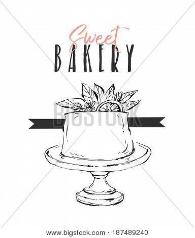 Hand drawn vector abstract unusual Sweet bakery card template with cake stand design, flowers, lemon and modern calligraphy Sweet Bakery isolated.Wedding, birthday, rsvp, save the date, sign, logo.branding