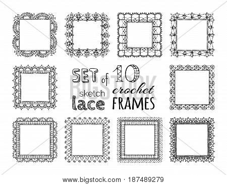 Vector Set Of 10 Sketch Lace Crochet Square Frames.