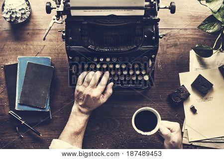 Hand Typing Retro Typewriter Machine Work Writer
