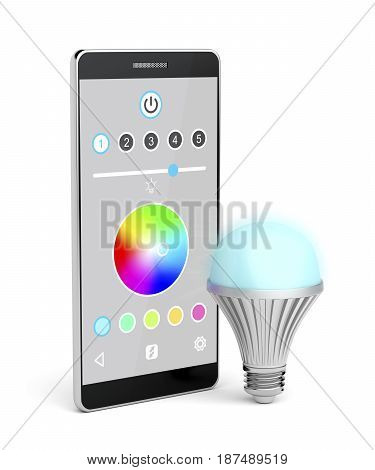 Color changing LED light bulb and smartphone on white background, 3D illustration