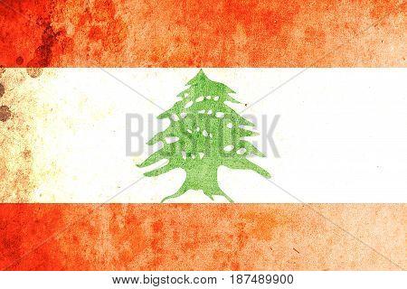 Lebanon flag grunge background. Background for design in country flag