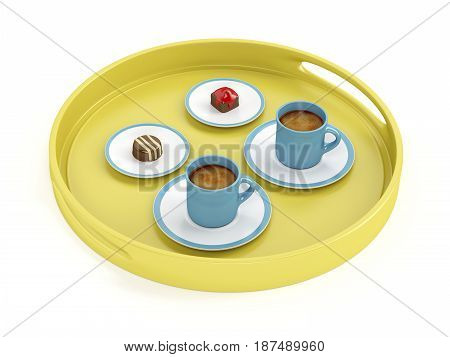 Plastic tray with espresso coffee cups and chocolate candies on white background, 3D illustration