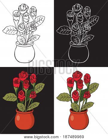 Illustration on black and white background Red rose in a pot colored and drawing