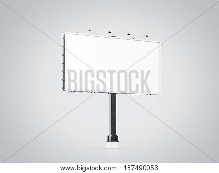 Blank white banner mock up on city billboard 3d rendering. Empty bill board mockup isolated perspective view. Clear canvas template on sity street sign. Outdoor poster screen. Cityboard signage stand