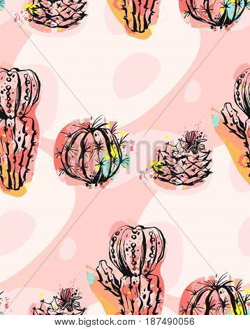 Hand drawn vector abstract seamless pattern collage with cacti plants illustrations and different shapes isolated on pastel background.Unusual fashion fabric, wedding, decoration, birthday, design element