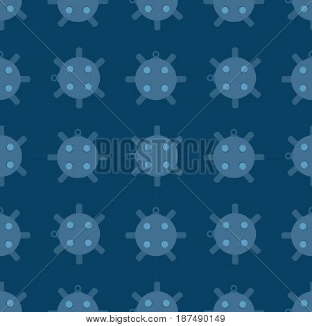 Naval mine seamless pattern vector illustration. Cartoon sea bomd in flat style on background.