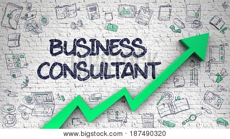 Brick Wall with Business Consultant Inscription and Green Arrow. Success Concept. Business Consultant Inscription on Modern Illustation. with Green Arrow and Doodle Design Icons Around. 3D.