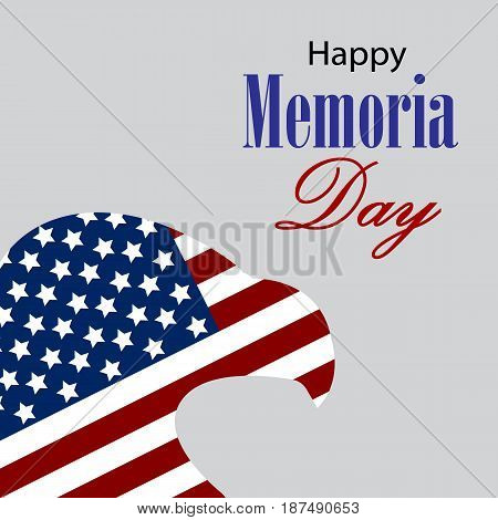 Happy Memorial day with eagle and usa flag. Vector.