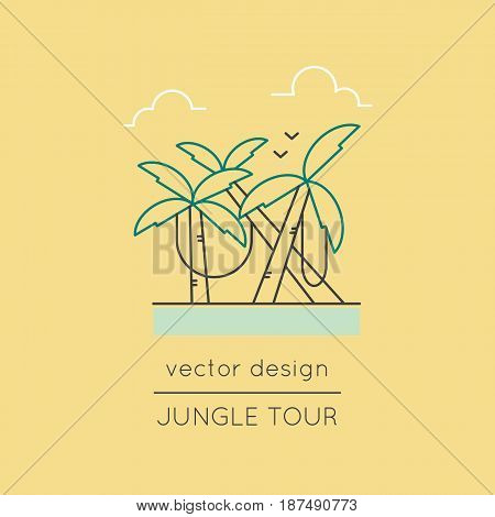 Jungle vector thin line icon. Palm forest with lianas. Colored isolated symbol. Logo template, element for travel agency products, tour brochure, excursion banner. Simple mono linear modern design.
