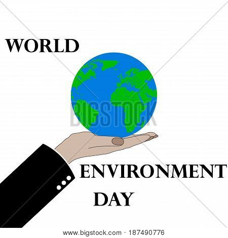 Hands holding the earth globe on white background. Saving the earth concept. Earth Day illustration.