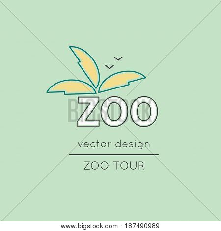 Zoo vector thin line icon. Colored isolated symbol. Logo template, element for travel agency products, tour brochure, excursion banner. Simple mono linear modern design.