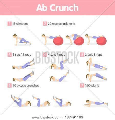 Abs exercises set. Isolated workout training for ab muscles for women on white background.