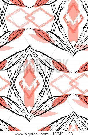 Hand made abstract graphic seamless pattern with flower ethnic motifs isolated on white background.Design for wedding, birthday, wrapping paper, fashion fabric.