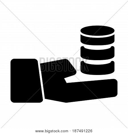 Hand holding a stack of coins vector icon. Black and white coin illustration. Solid linear money icon. eps 10