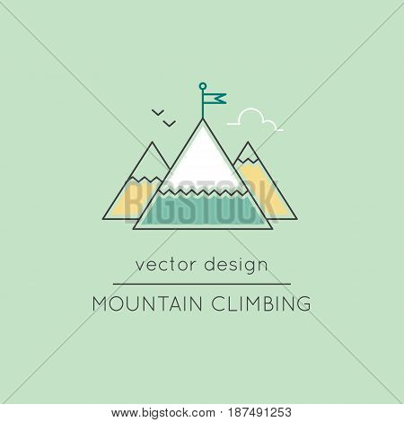 Mountain climbing vector thin line icon. Isolated symbol. Logo template, element for travel agency products, tour brochure, excursion banner. Simple mono linear modern design.