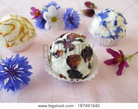 Homemade flowers soap with rose, calendula and cornflower