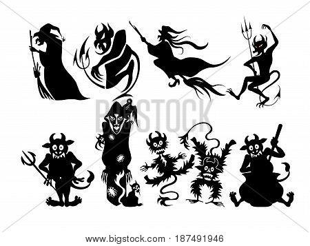 Happy halloween banner elements, character streamer simple cartoon.