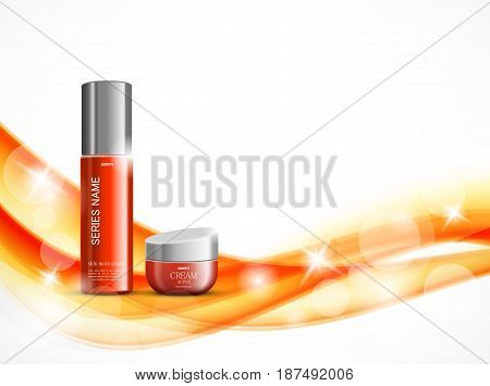 Skin moisturizer cosmetic design template with red realistic packages on orange soft wavy dynamic elegant lines background. Vector illustration