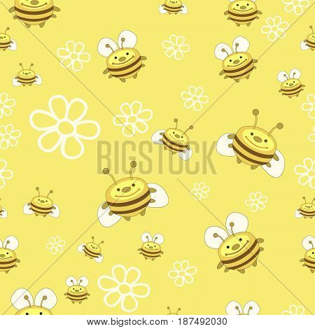 Seamless pattern of bees and flowers. Bees flat vector illustration