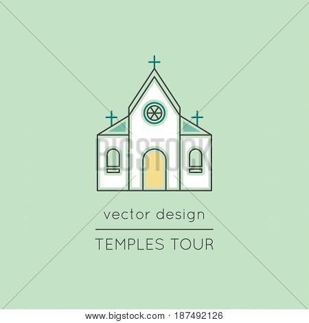 Temple vector thin line icon. Colored isolated symbol. Logo template, element for travel agency products, tour brochure, excursion banner. Simple mono linear modern design.