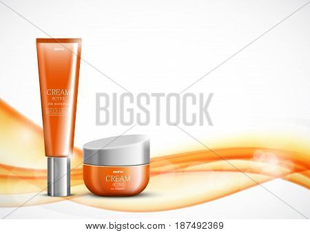 Body cream cosmetic ads template with orange realistic packages on wavy soft dynamic transparent lines background. Vector illustration