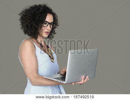 Caucasian Woman Casual Laptop Working