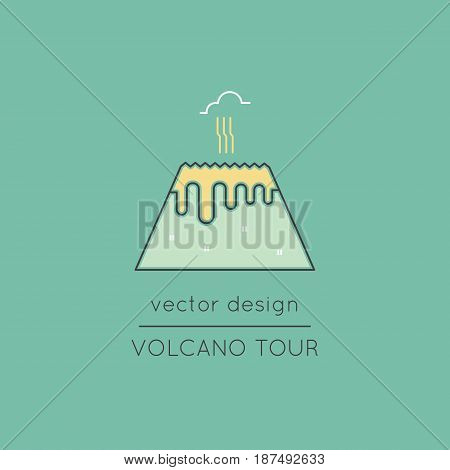 Volcano vector thin line icon. Isolated symbol. Logo template, element for travel agency products, tour brochure, excursion banner. Simple mono linear modern design.