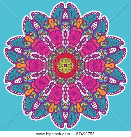 Round colorful mandala design. Creative vector illustration