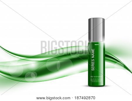 Skin moisturizer cosmetic design template with green realistic package on wavy soft bright dynamic smooth lines background. Vector illustration
