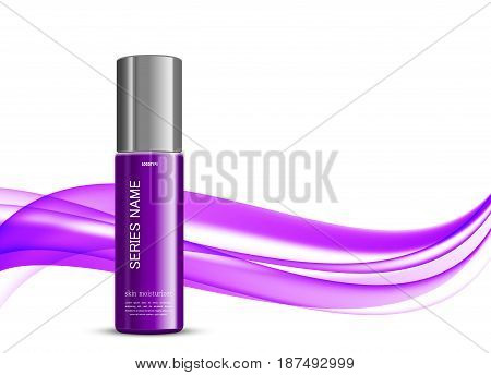 Beauty cosmetic design template with skin moisturizer purple realistic bottle on wavy soft dynamic elegant light lines background. Vector illustration