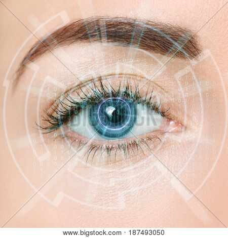 eye of the future. Closeup of woman eye with visual effects. Eye in process of scanning. Futuristic modern cyber technology eye panel concept. Eye viewing digital information into blue iris