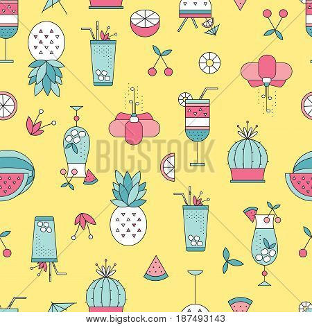 Summer beach seamless pattern. Vector bright background with fruits, flowers and cocktails. Can be used for wallpaper, surface textures, scrapbooking, fabric prints.