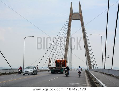 Traffic On The Binh Bridge In Hai Phong, Vietnam