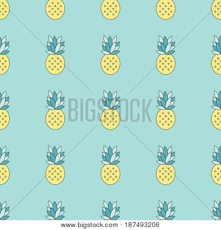 Simple pineapple seamless tiled pattern. Vector bright background. Can be used for wallpaper, surface textures, scrapbooking, fabric prints.