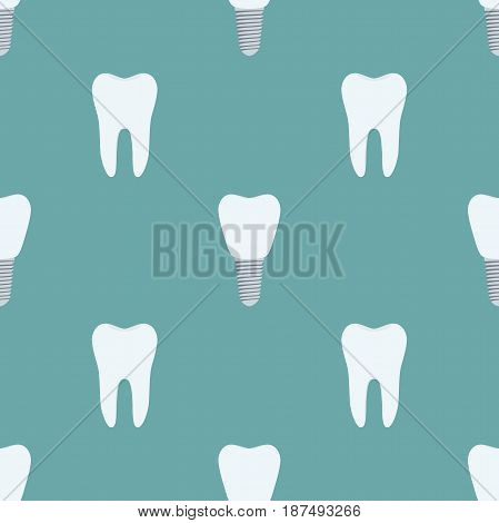 Seamless pattern of tooth, implant, prothesis. Made in cartoon flat style.